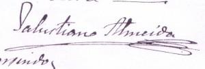 Firma del párroco Salustiano Almeida (Herencia)