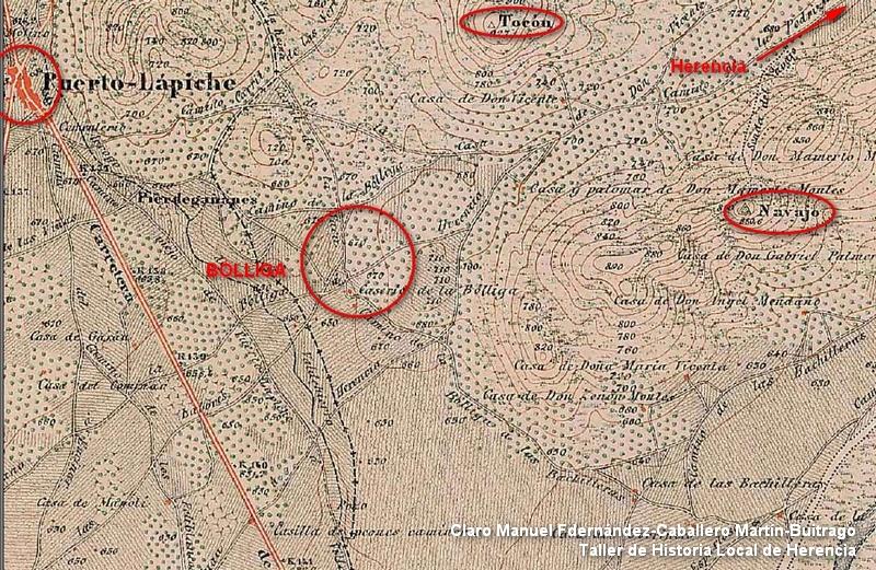 Mapa topográfico de La Bóllica (Herencia)