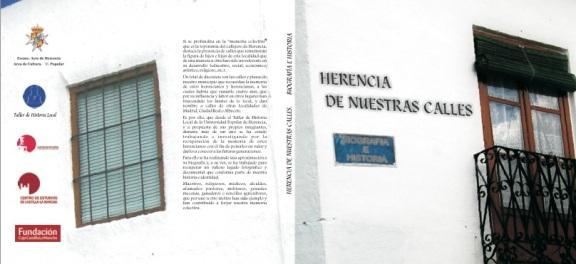 """Portada y contraportada del libroe """"Herencia de neustras calles. Biorafía e Historia"""""""