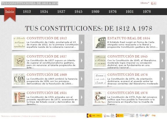 Pantalla de inicio web Tus Constituciones de 1812 a 1978