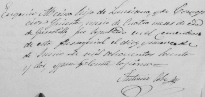 """Ejemplo de fallecimiento por """"garrotillo"""" en Herencia. Junio 1862"""