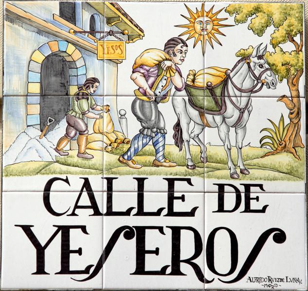 Letrero de la Calle de los Yeseros de Madrid