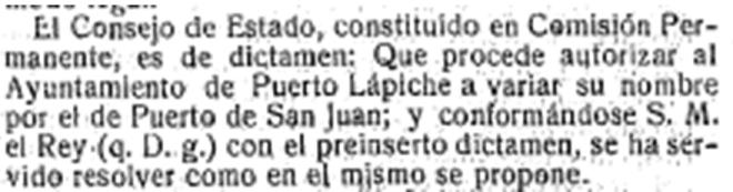 Propuesta para cambiar el nombre por el de Puerto de San Juan