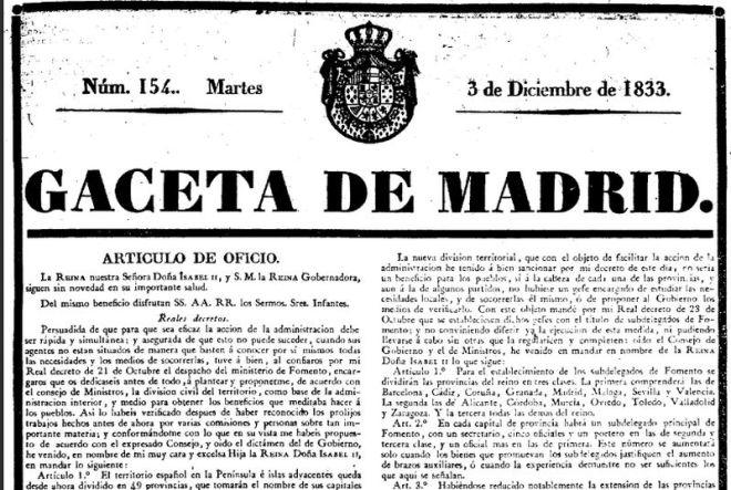 Gaceta de Madrid nº 154 de 3 de diciembre de 1833_División provincial Javier de Burgos