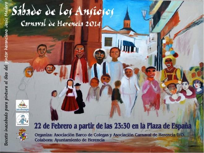 Cartel del Sábado de los Ansiosos 2014 del Carnaval de Herencia