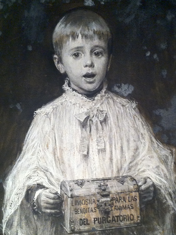 Monaguillo pidiendo por las ánimas benditas del purgatorio. Cuadro de José Benlliure