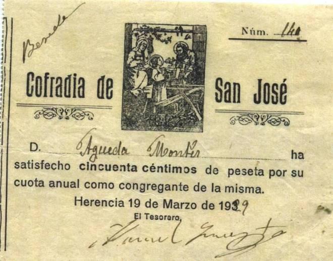 Recibo de la Hermandad de San José de 1929