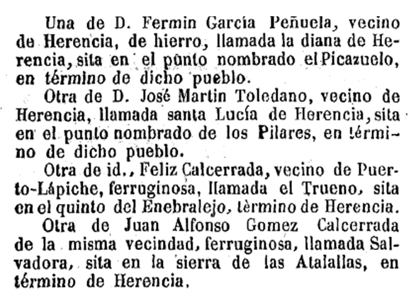 Registro de minas en Herencia a mediados del siglo XIX