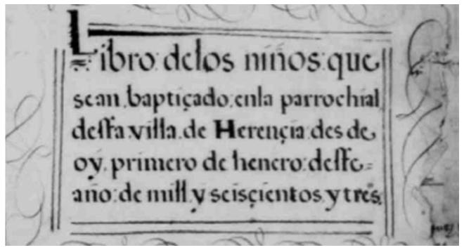 Detalle de uno de los libros de bautizos del archivo parroquial de Herencia