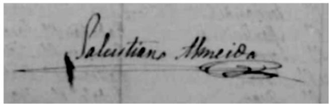 Firma del prior parroquial Salustiano Almeida