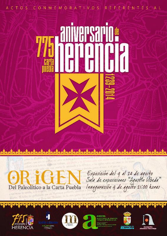 """Cartel exposición """"Origen. Del Paleolítico a la Carta Puebla"""""""