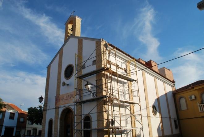 Ermita de san Antón de Herencia durante su restauración
