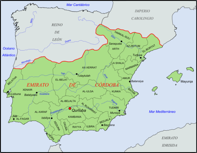 Mapa del emirato de Córdoba