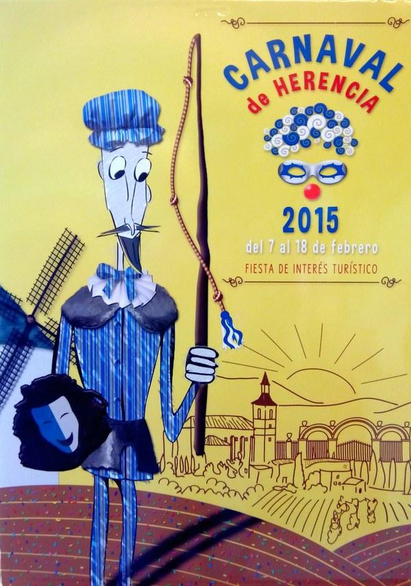 Cartel anunciador del Carnaval de Herencia 2015. Obra ganadora de Llopis Gilabert