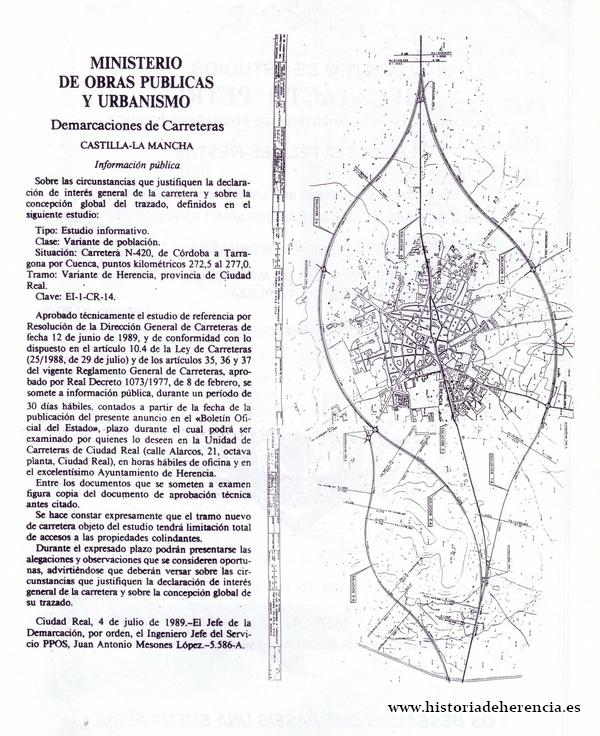 Proyecto variante de Herencia 1989