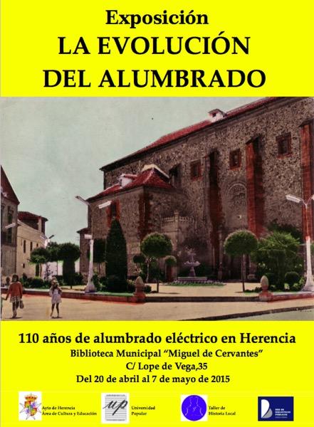 Cartel exposición 110 años de alumbrado electrico en Herencia