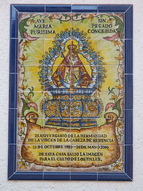 Cerámica de la Virgen de la Cabeza de Herencia. Fotografía de Claro Manuel Fdez.-Caballero Martín-Buitrago