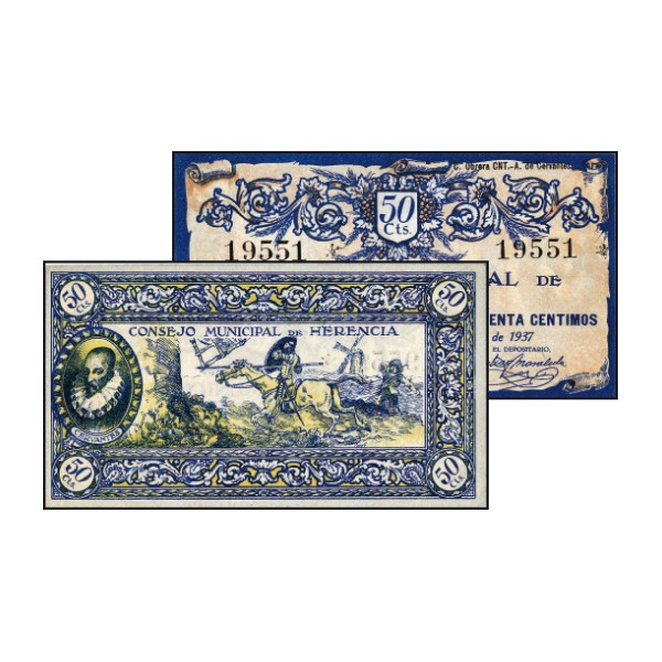 Billete local de Herencia de 1937 con ilustración del Quijote