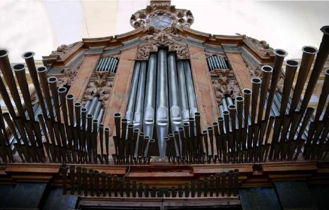 Imagen simulada del estado final del órgano barroco de la parroquia de Herencia tras su restauración y reconstrucción