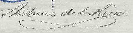 Firma de Antonio de la Riva