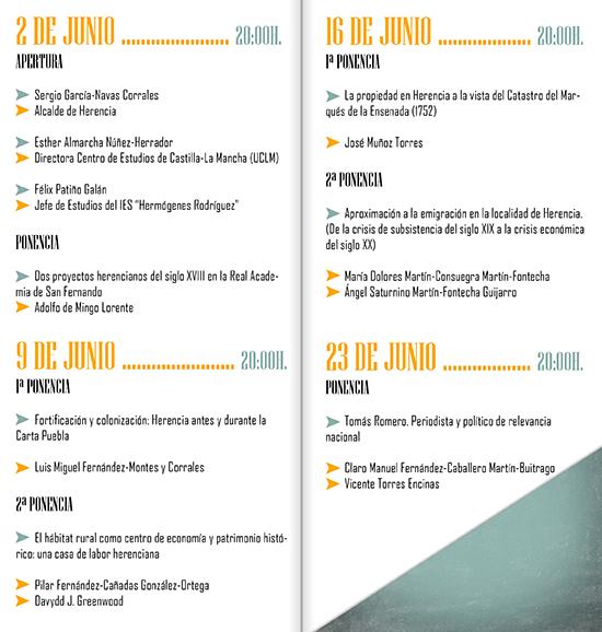 Programa de las II Cartel de las II Jornadas de Historia de Herencia