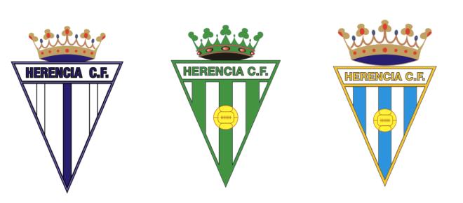 Variantes del escudo del Herencia C. F. a lo largo de la historia